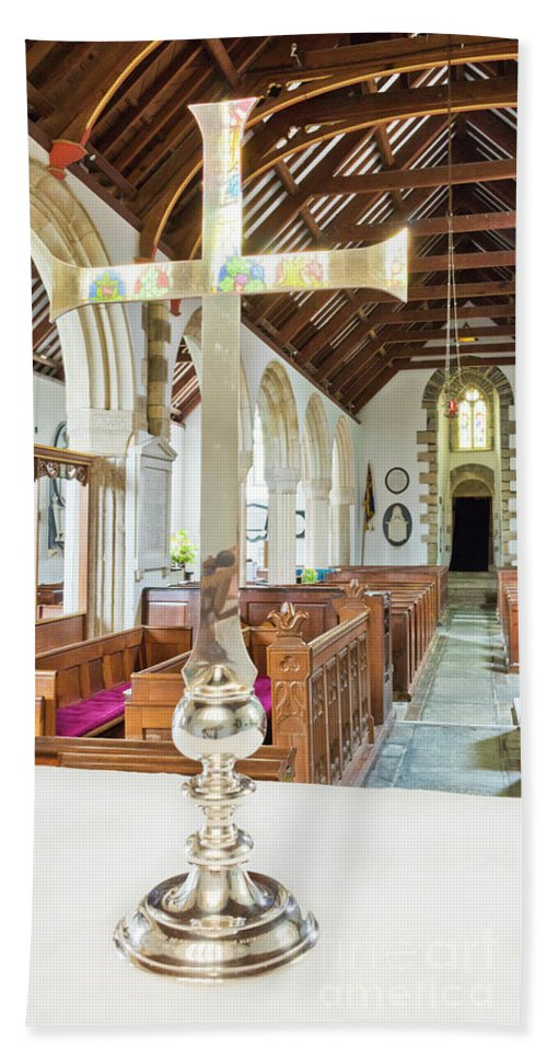 Sy Mylor Bath Sheet featuring the photograph St Mylor Cross Reflections by Terri Waters