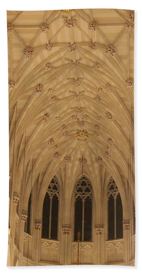 Parish Bath Sheet featuring the photograph St. Patrick's Cathedral - Detail Of Main Altar's Ceiling by Dora Sofia Caputo Photographic Design and Fine Art