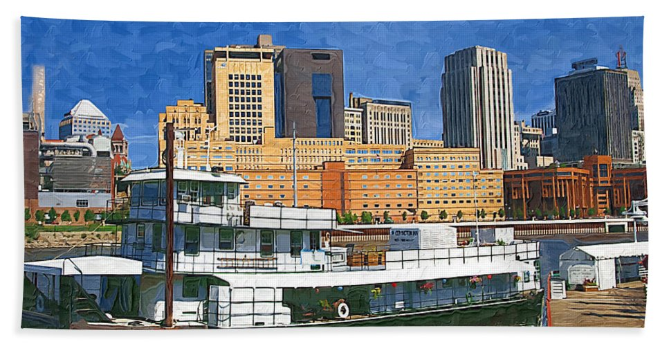 Boat Bath Sheet featuring the photograph St Paul On The Mississippi by Tom Reynen