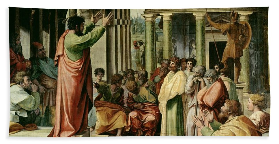 Paul Hand Towel featuring the painting St. Paul Preaching At Athens by Raphael
