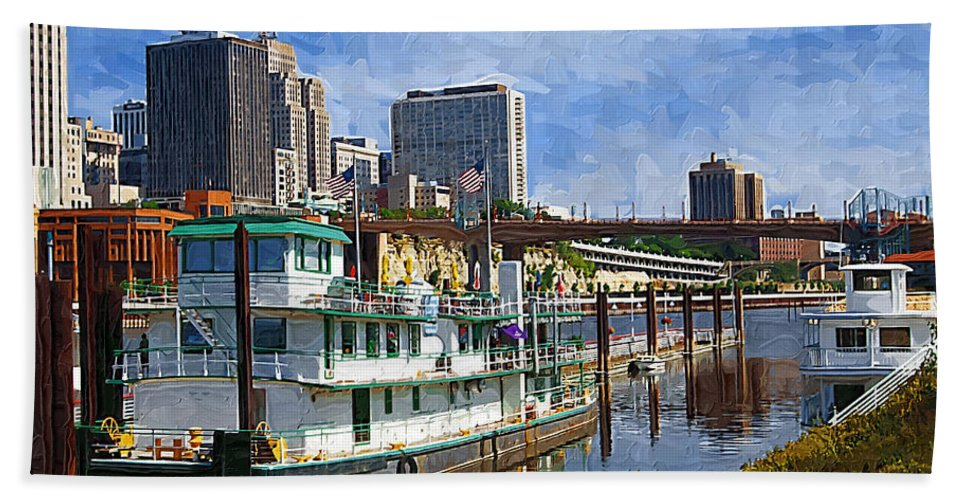 Tugboat Bath Sheet featuring the photograph St Paul Tugboat by Tom Reynen