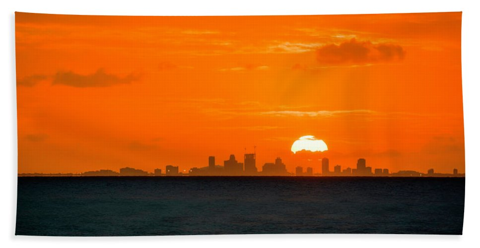 Sunset Hand Towel featuring the photograph St. Pete Fireball by Marvin Spates
