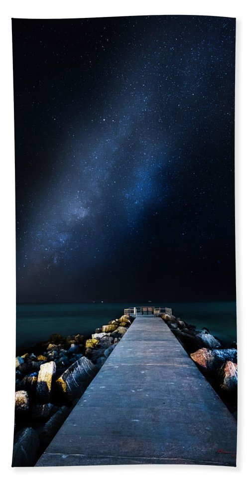 Galaxy Hand Towel featuring the photograph St. Pete Night by Marvin Spates