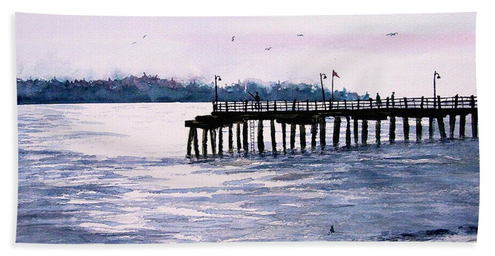 Fishing Hand Towel featuring the painting St. Simons Island Fishing Pier by Sam Sidders