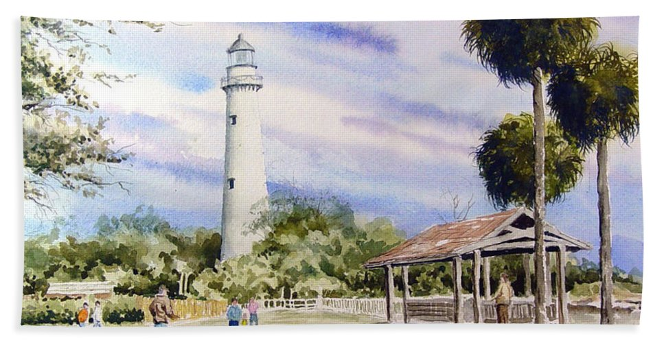 Lighthouse Hand Towel featuring the painting St. Simons Island Lighthouse by Sam Sidders