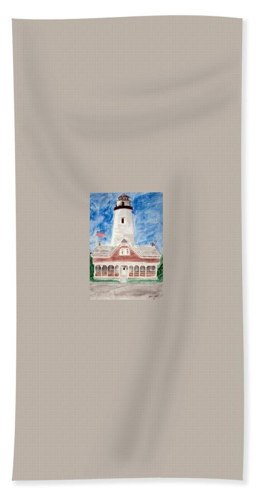 Watercolor Landscape Lighthouse Seascape Painting Bath Towel featuring the painting ST SIMONS LIGHTHOUSE nautical painting print by Derek Mccrea