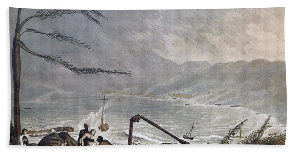 1819 Hand Towel featuring the photograph St. Thomas: Hurricane, 1819 by Granger