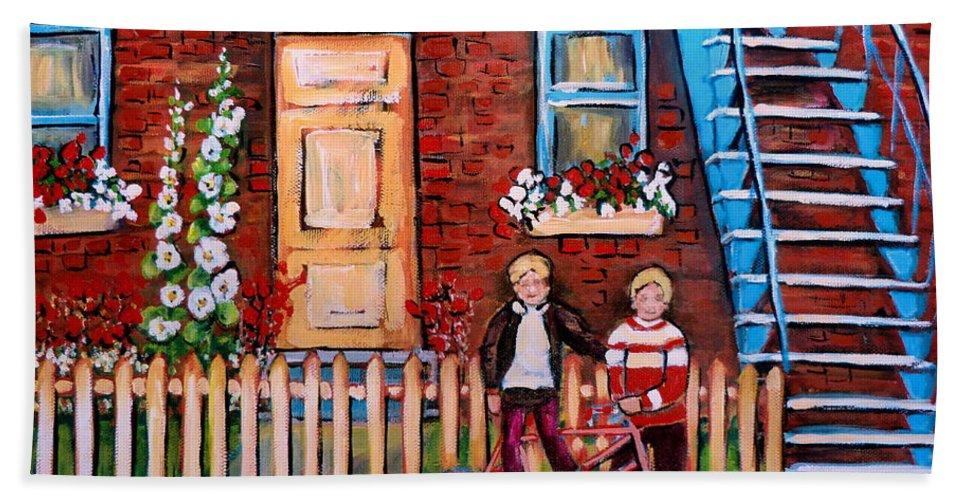 Montreal Neighborhoods Bath Sheet featuring the painting St. Urbain Street Boys by Carole Spandau