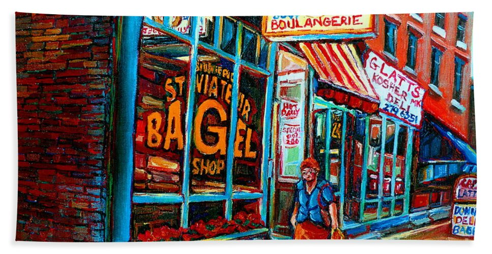 St Bath Towel featuring the painting St. Viateur Bagel Bakery by Carole Spandau