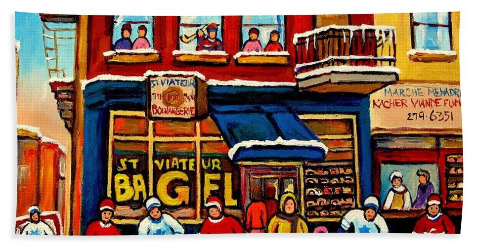Montreal Hand Towel featuring the painting St. Viateur Bagel Hockey Practice by Carole Spandau