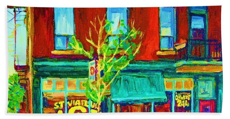 St. Viateur Bagel Shop Bath Towel featuring the painting St Viateur Bagel Shop by Carole Spandau