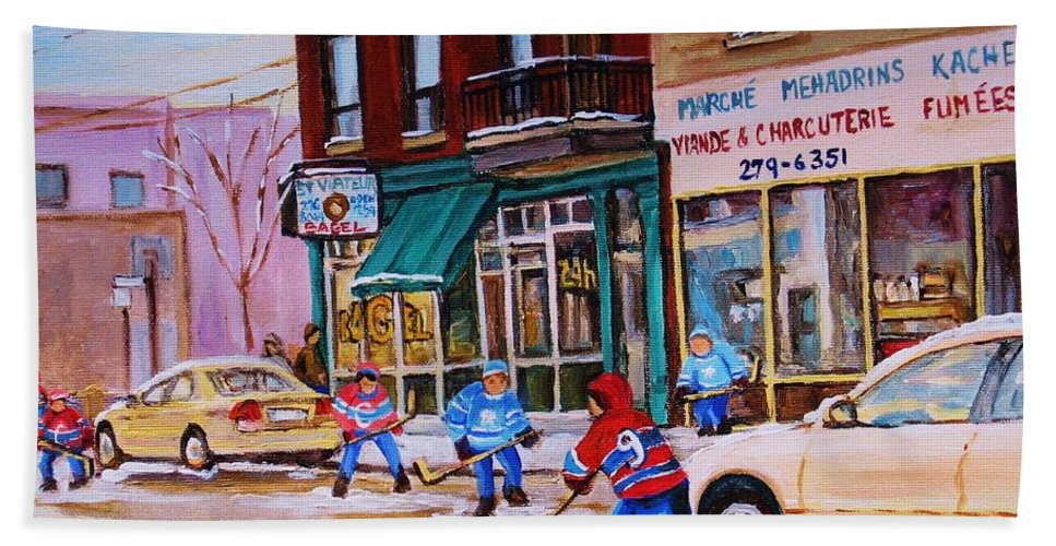Montreal Hand Towel featuring the painting St. Viateur Bagel With Boys Playing Hockey by Carole Spandau