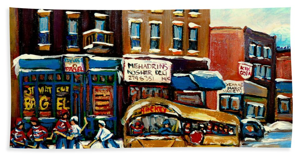 St. Viateur Bagel With Hockey Bus Bath Towel featuring the painting St. Viateur Bagel With Hockey Bus by Carole Spandau