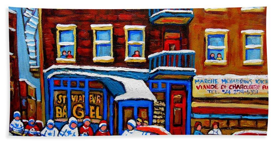 St. Viateur Bagel Hand Towel featuring the painting St Viateur Bagel With Hockey Montreal Winter Street Scene by Carole Spandau