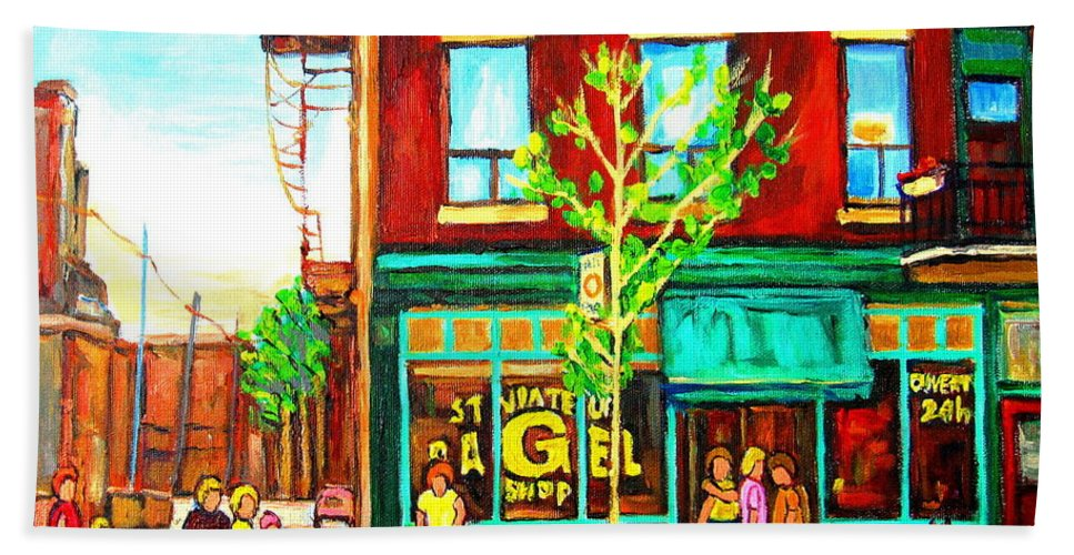 Cityscapes Bath Towel featuring the painting St. Viateur Bagel With Shoppers by Carole Spandau