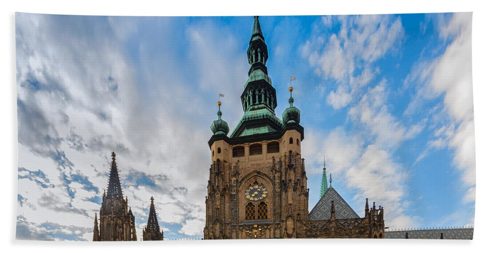 Prague Hand Towel featuring the photograph St Vitus Cathedral In Prague by Anastasy Yarmolovich