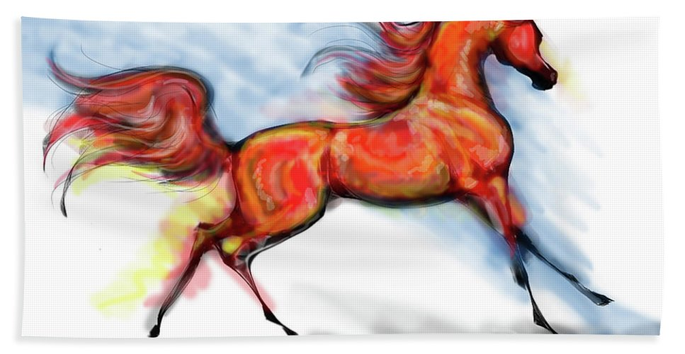 Arabian Horse Drawing Bath Sheet featuring the digital art Staceys Arabian Horse by Stacey Mayer