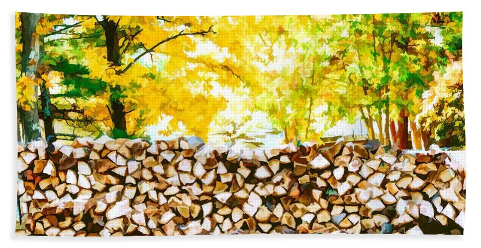 Stack Of Firewood Bath Sheet featuring the painting Stack Of Firewood by Jeelan Clark
