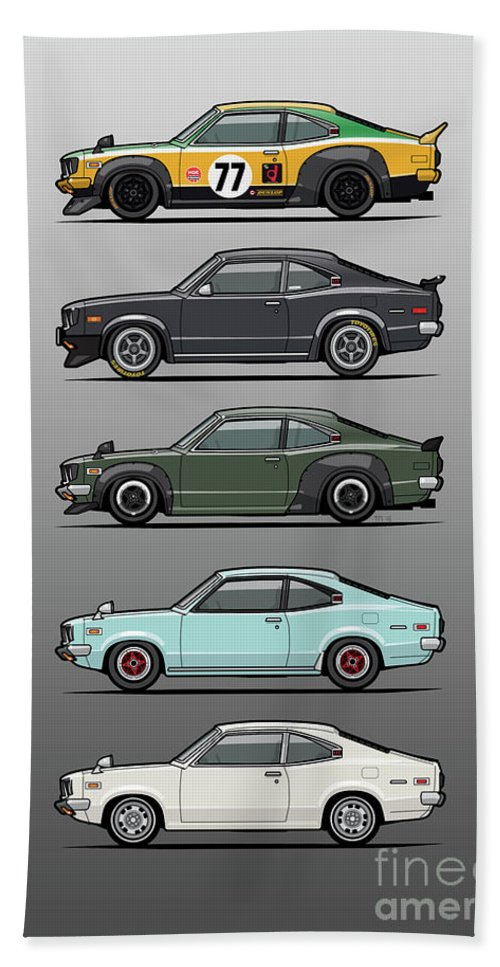 Car Bath Towel featuring the digital art Stack Of Mazda Savanna Gt Rx-3 Coupes by Monkey Crisis On Mars
