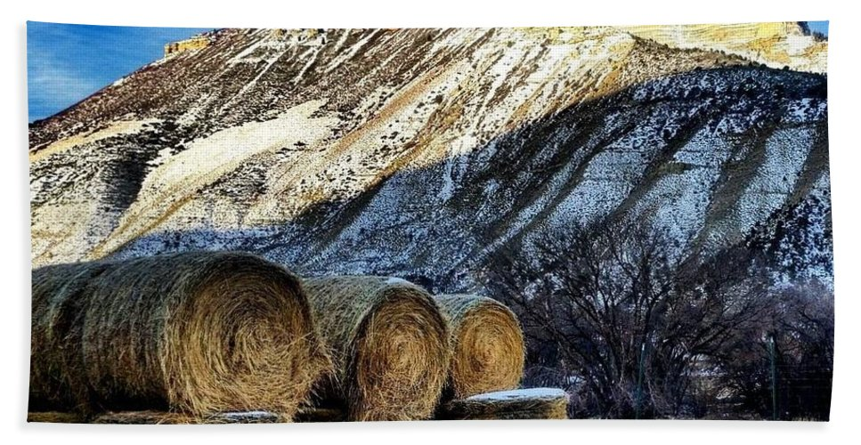 Straw Bath Sheet featuring the photograph Stacked Mountains by Christopher Wilson