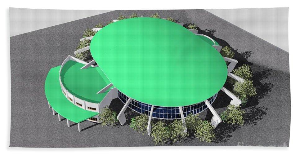 Building Rendering Hand Towel featuring the digital art Stadium Model by Ron Bissett