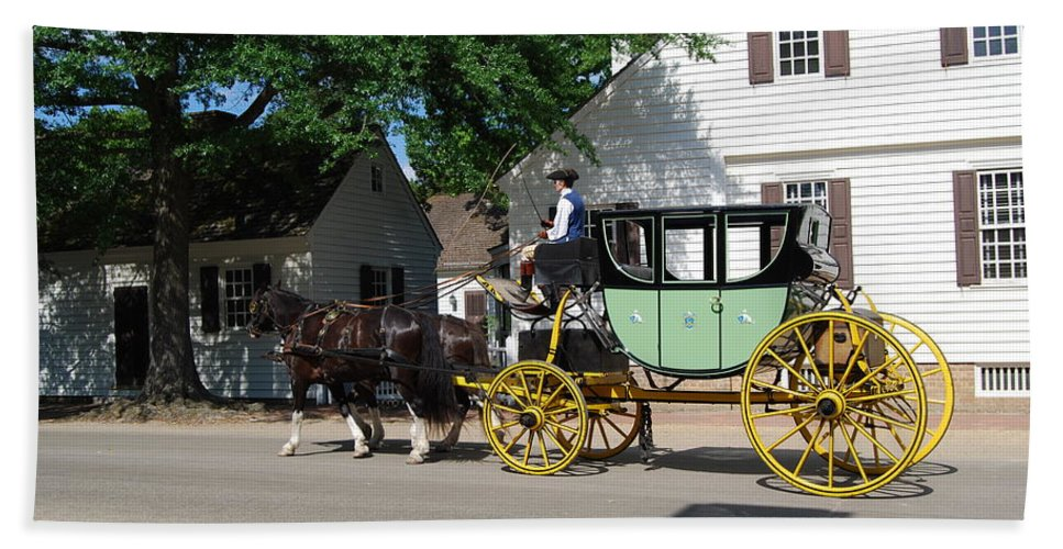 Stage Coach Hand Towel featuring the photograph Stage Coach by Eric Liller