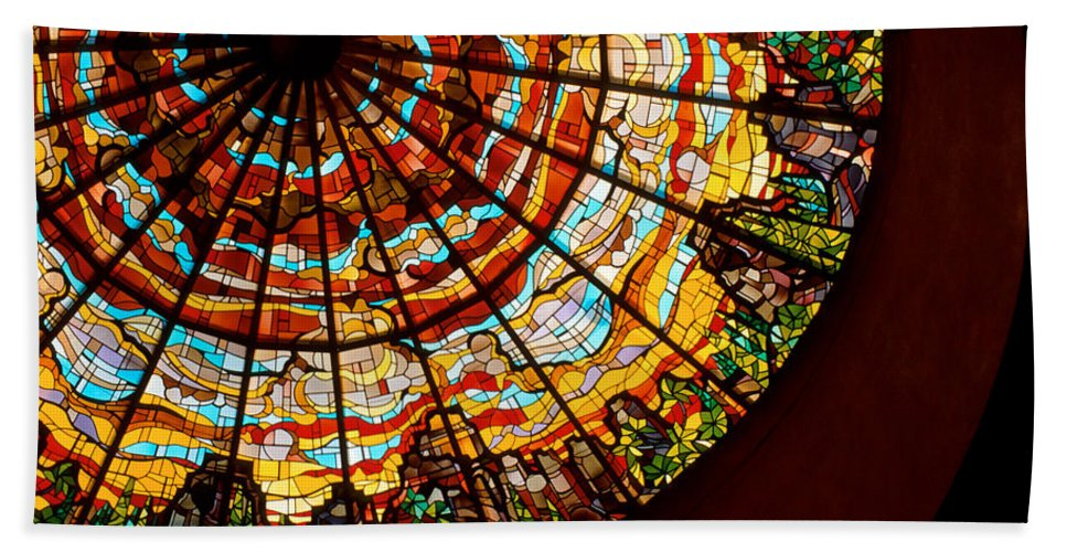 Stained Glass Bath Sheet featuring the photograph Stained Glass Ceiling by Jerry McElroy