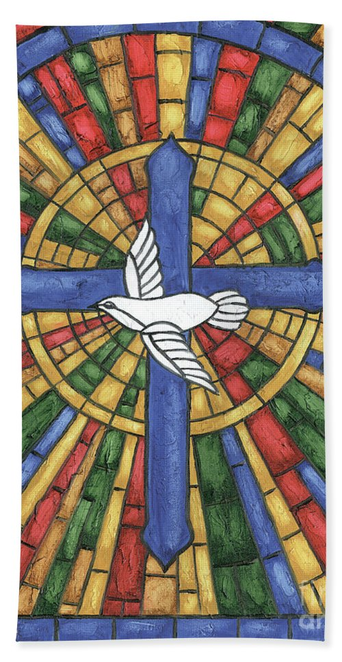Dove Bath Towel featuring the painting Stained Glass Cross by Debbie DeWitt