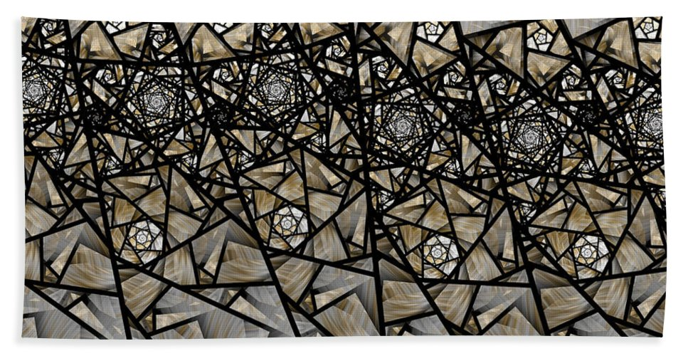 Fractal Hand Towel featuring the digital art Stained Glass Floral IIi by Amorina Ashton