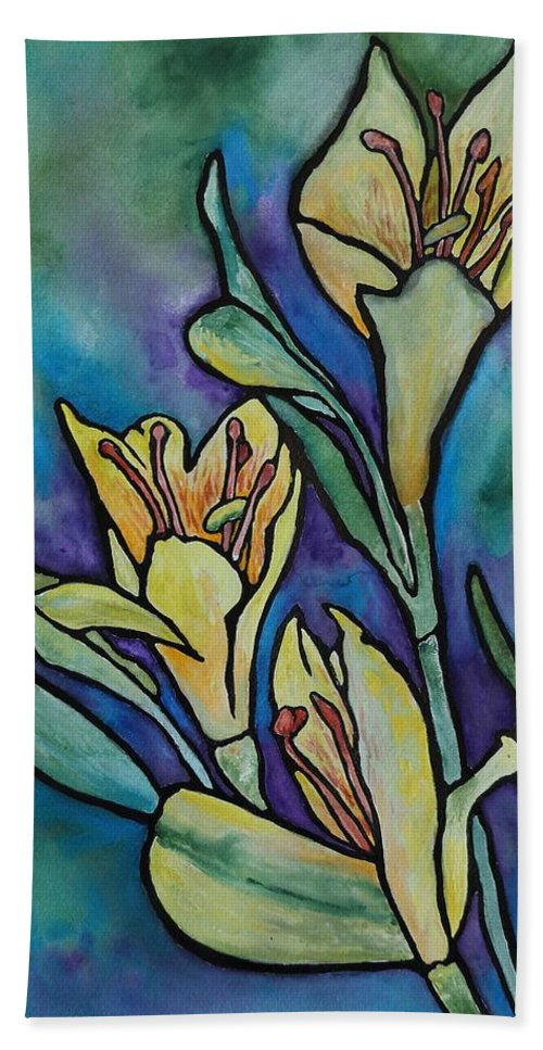Flowers Hand Towel featuring the painting Stained Glass Flowers by Ruth Kamenev