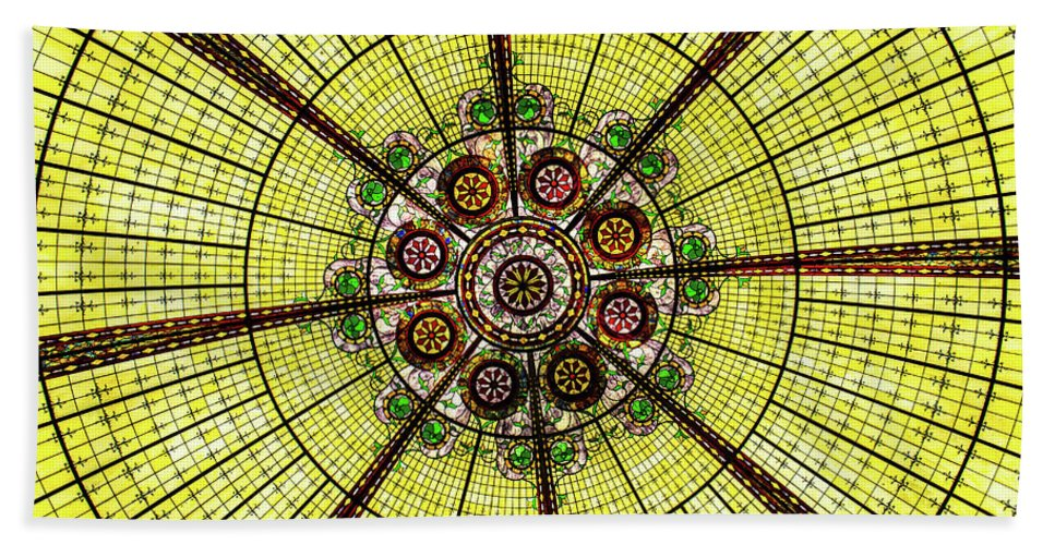 Stained Glass Bath Sheet featuring the photograph Stained Glass Kaleidoscope by Amy Sorvillo