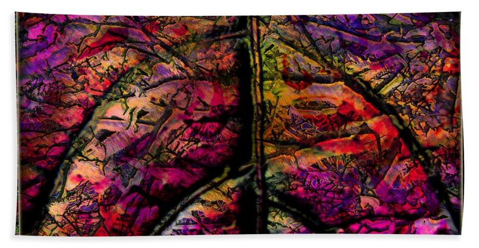 Stained Glass Hand Towel featuring the digital art Stained Glass Not by Barbara Berney