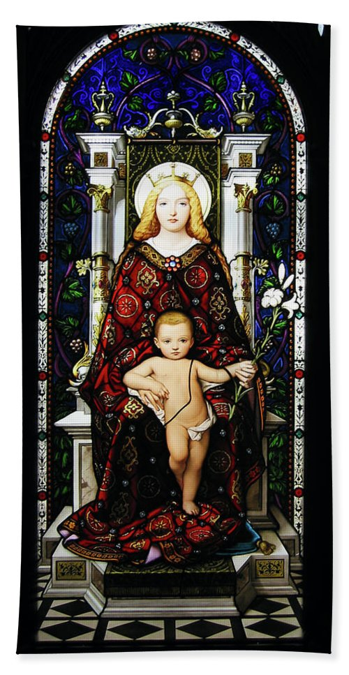3scape Bath Sheet featuring the photograph Stained Glass Of Virgin Mary by Adam Romanowicz