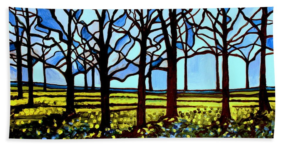 Blue Bath Sheet featuring the painting Stained Glass Trees by Elizabeth Robinette Tyndall