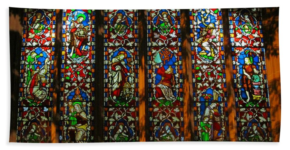 Christ Church Cathedral Fredericton Hand Towel featuring the photograph Stained Glass Window Christ Church Cathedral 2 by Mark Sellers