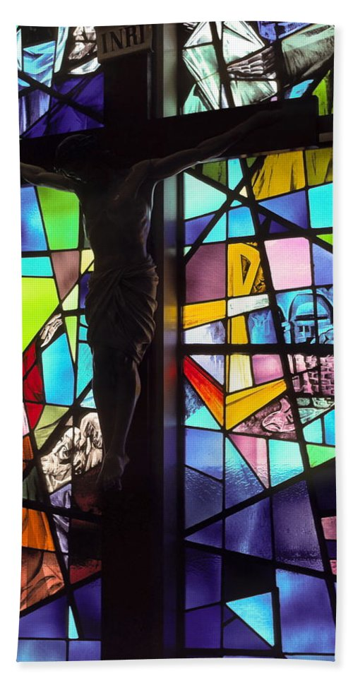 Stained Glass Window Hand Towel featuring the photograph Stained Glass With Crucifix Silhouette by Sally Weigand