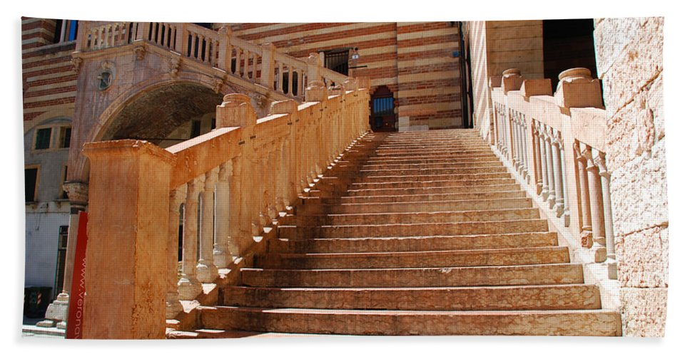 Verona Hand Towel featuring the photograph Staircase At Scala Della Ragione - Verona Italy by Just Eclectic