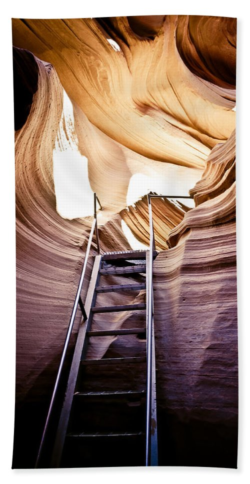 Canyon Bath Sheet featuring the photograph Stairs From Chaos by Scott Sawyer
