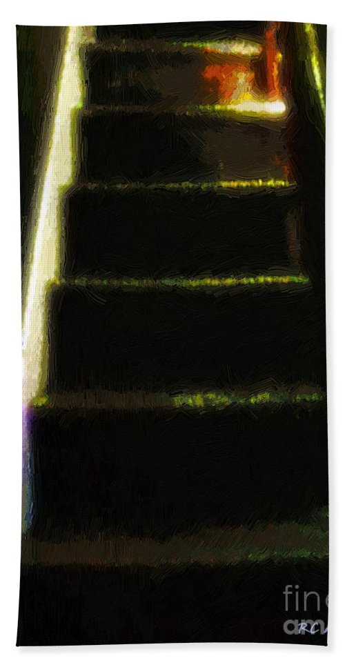 Stairs Hand Towel featuring the painting Stairs To The Madwoman's Attic by RC DeWinter