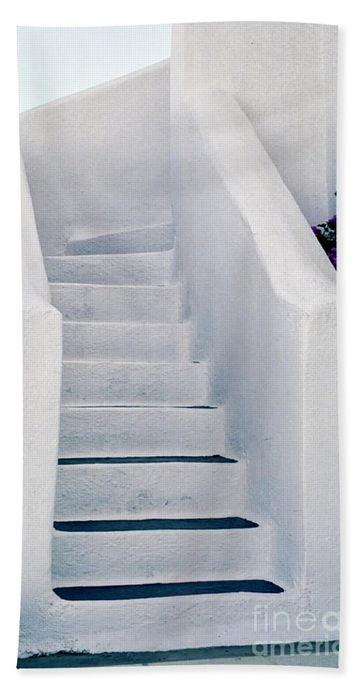 Stairs Hand Towel featuring the photograph Stairway In Mykonos by Madeline Ellis