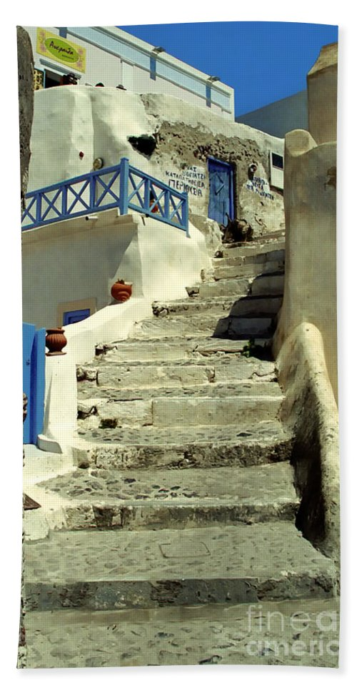 Stairs Hand Towel featuring the photograph Stairway In Santorini by Madeline Ellis