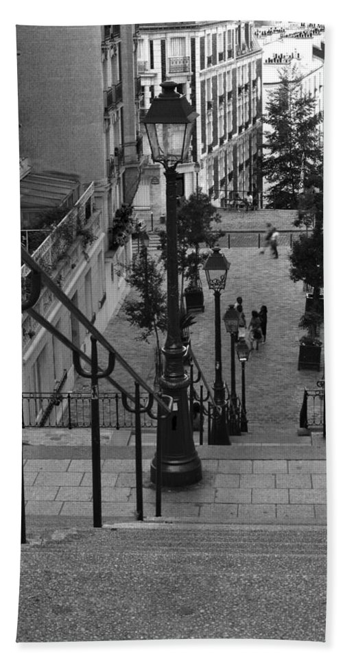 Stairs Bath Sheet featuring the photograph Stairway On Montmartre by Greg Matchick