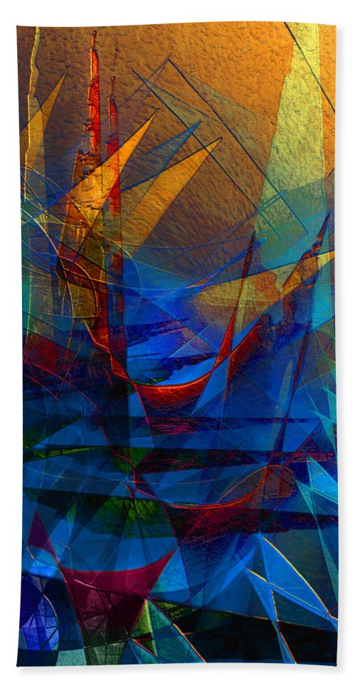 Abstract Bath Sheet featuring the digital art Stairway Upon Grail Passeges by Stephen Lucas