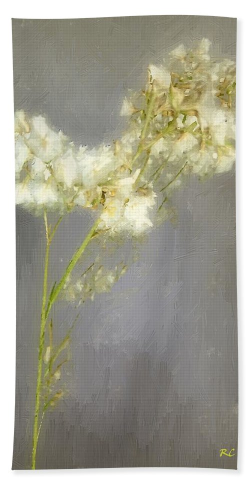 Flowers Bath Sheet featuring the painting Stalk Of Pearls by RC DeWinter