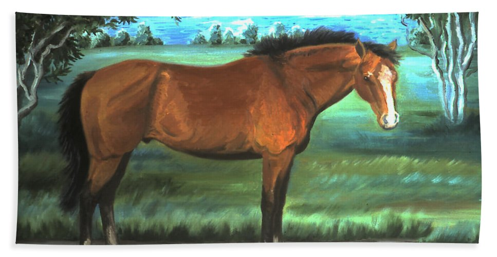 Horse Bath Sheet featuring the painting Stallion Portrait by Dawn Senior-Trask