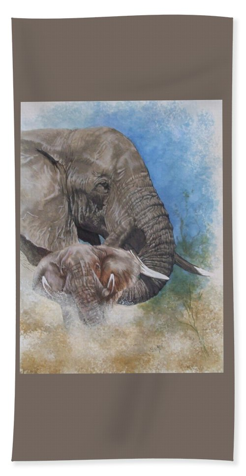 Elephant Hand Towel featuring the mixed media Stalwart by Barbara Keith