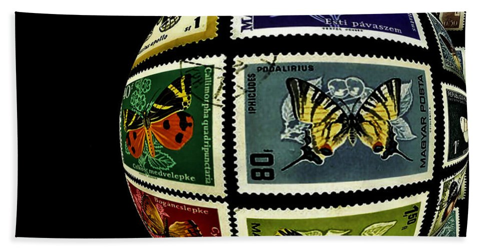 Stamp Collection Hand Towel featuring the photograph Butterfly Postage Stamp Art Print by Carol F Austin