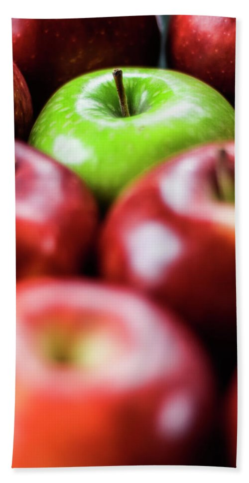 Apple Hand Towel featuring the photograph Standing Out From The Crowd by Vishwanath Bhat