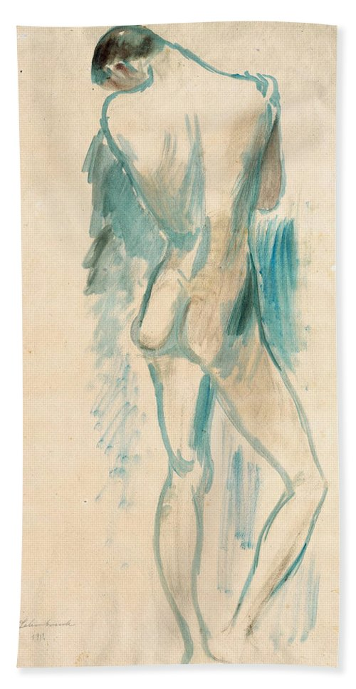Wilhelm Lehmbruck Hand Towel featuring the drawing Standing Youth by Wilhelm Lehmbruck