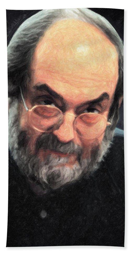 Stanley Kubrick Bath Sheet featuring the painting Stanley Kubrick by Zapista Zapista